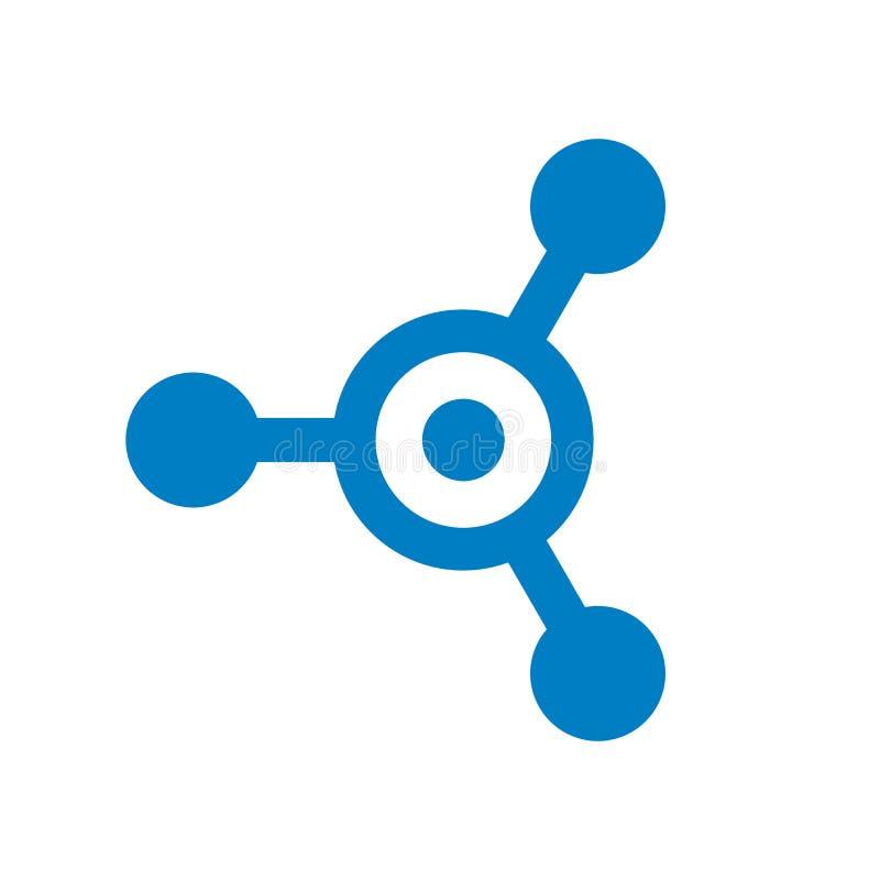Anslutnings- och bokstavsnolla-vektor Logo Design, Tech, molekyl, nav, blått teknologisymbolsbegrepp royaltyfri illustrationer
