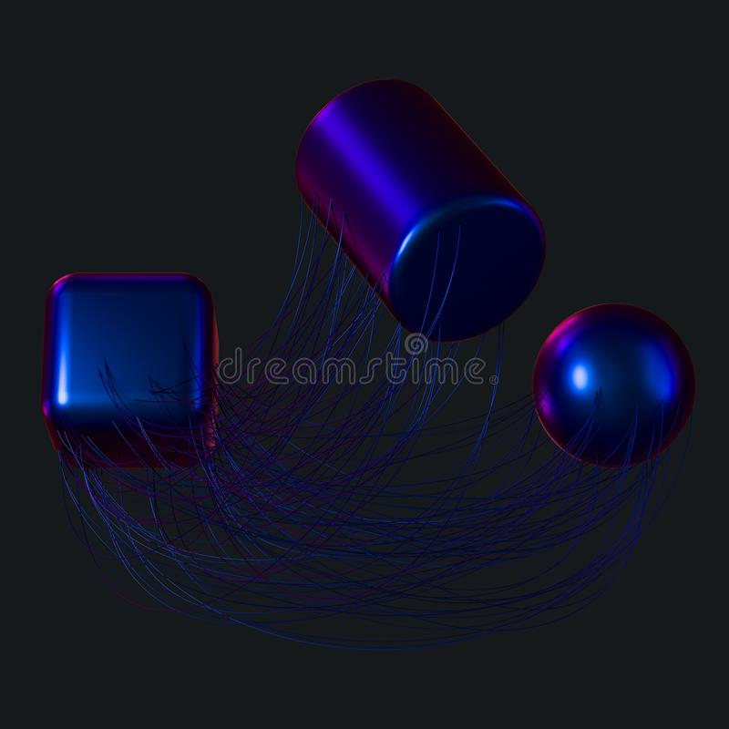 Anslutningslinjer med idérika geometrier, tolkning 3d vektor illustrationer