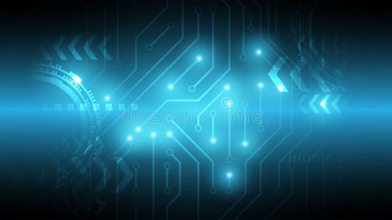 Anslutningspunkt av strömkretsen, cyberspacebakgrund, abstrakt techn royaltyfri illustrationer
