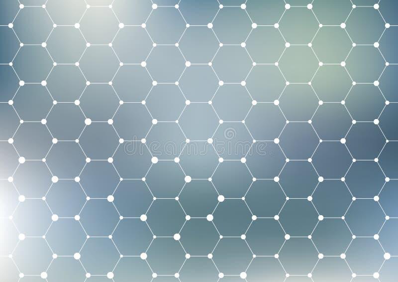 Anslutningsstruktur geometrisk abstrakt bakgrund Medicin vetenskap och teknik Vektorillustration för ditt vektor illustrationer