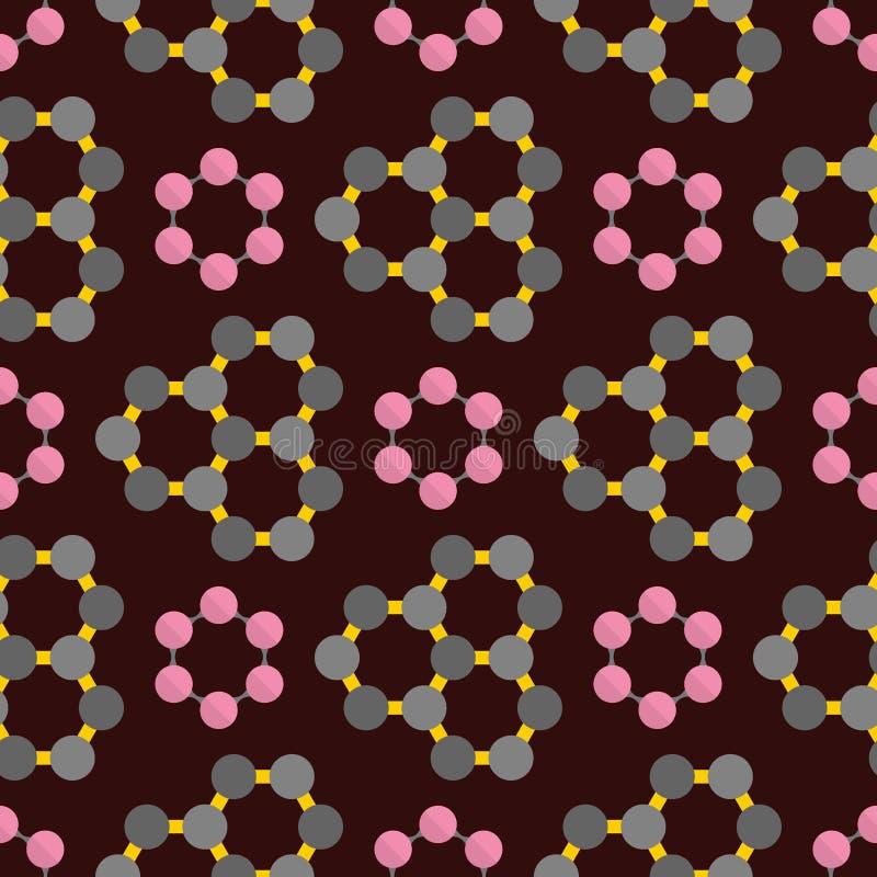Anslutningsstrukturmolekyl av illustrationen för vektor för teknologi för vetenskap för modell för DNAneuronsbakgrund den sömlösa royaltyfri illustrationer