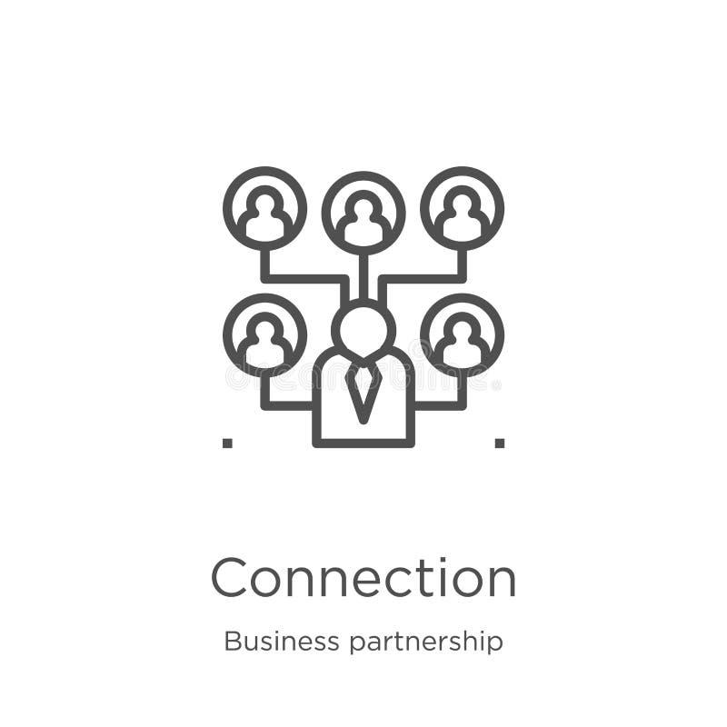 anslutningssymbolsvektor från affärspartnerskapsamling Tunn linje illustration för vektor för anslutningsöversiktssymbol Översikt stock illustrationer