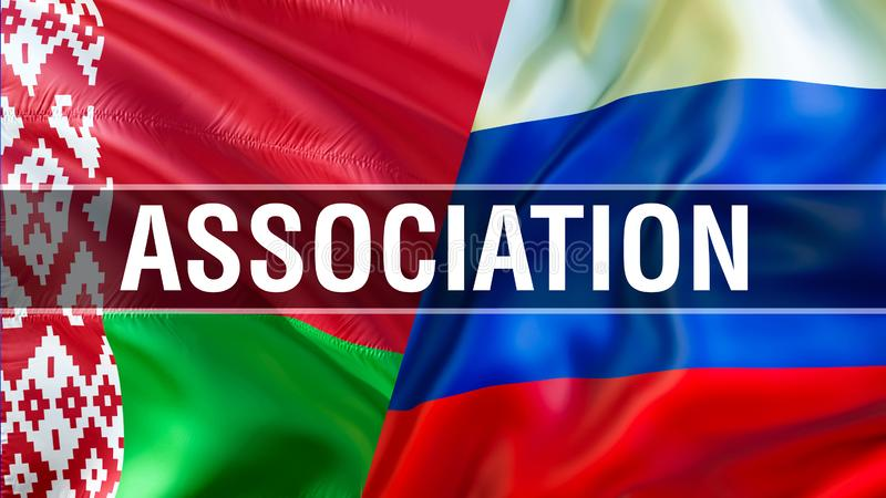 Anslutningunion på Ryssland och Vitryssland flaggor Vinkande flaggadesign, tolkning 3D Ryssland Vitryssland flaggabild, tapetbild stock illustrationer