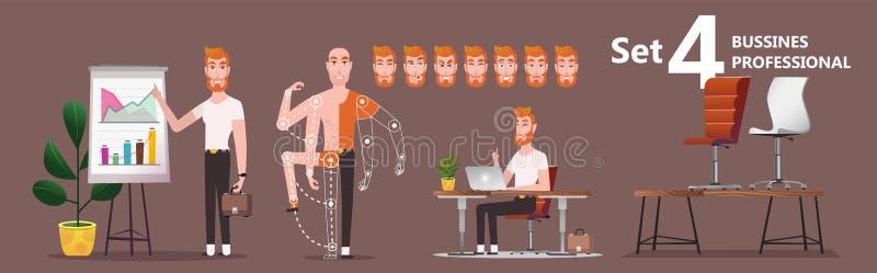 Anställd för den unga mannen av företaget framlägger resultaten av arbete vektor illustrationer