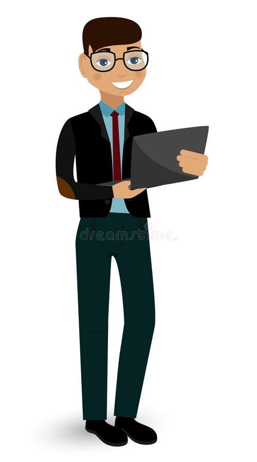 Anställd med en bärbar dator stock illustrationer