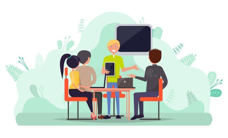 Anställda samarbete, folk med bärbar datorvektorn vektor illustrationer