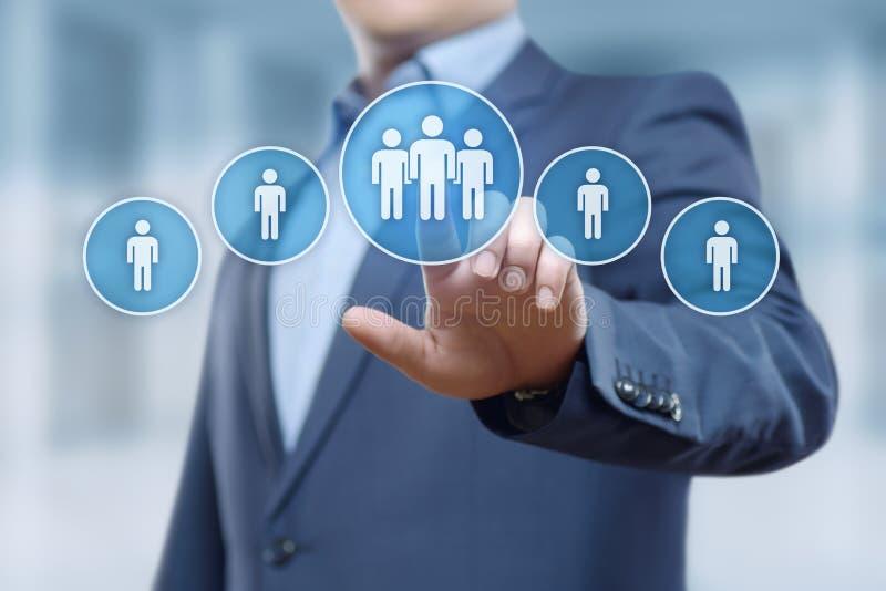 Anställning för rekrytering för personalresurstimme-ledning som jagar huvuden begrepp arkivfoto