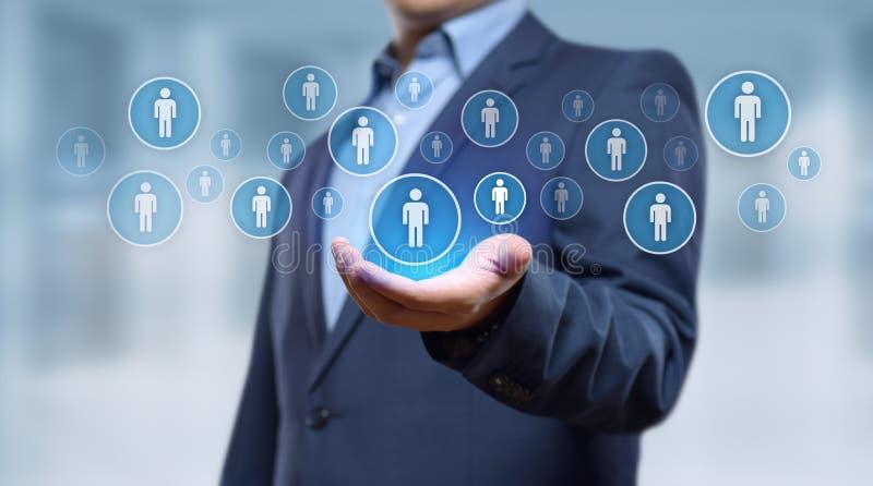 Anställning för rekrytering för personalresurstimme-ledning som jagar huvuden begrepp arkivbild