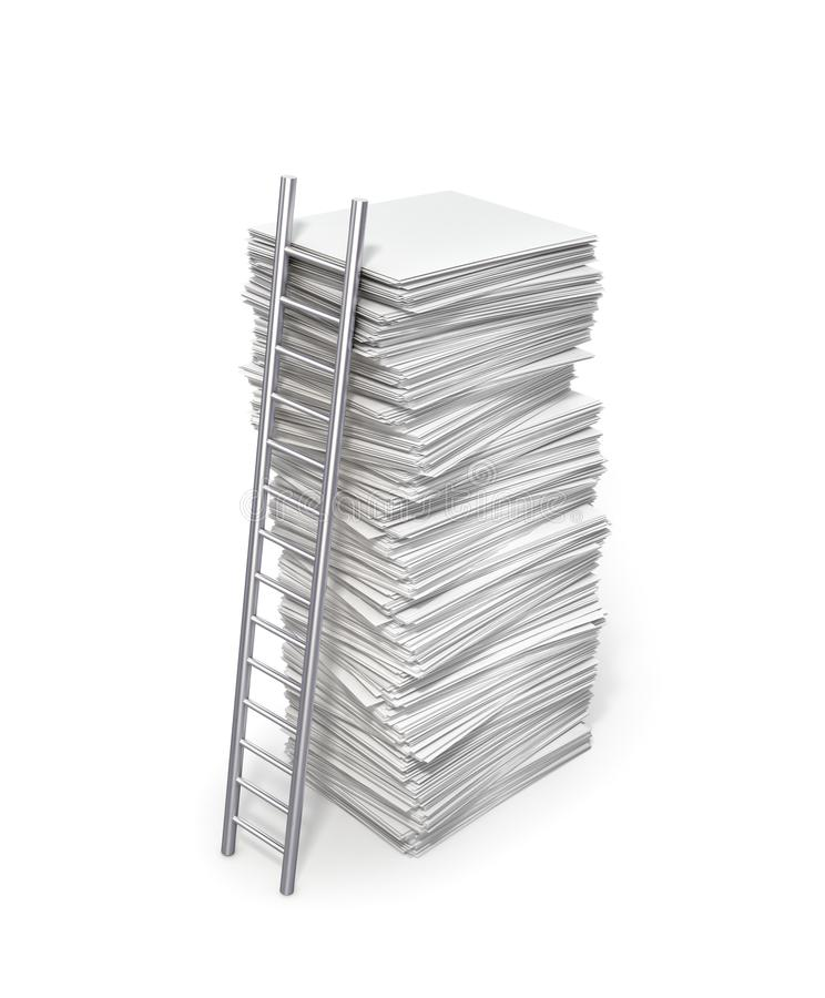 Anställningbegrepp Stege till bunten av tomt papper royaltyfri bild