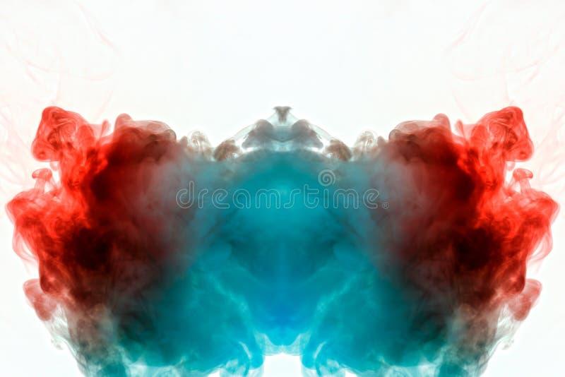Ansteigender lichtdurchlässiger Rauch, verflochten im Bild des Kopfes, rot, orange und blau, wenn die schwarzen Linien, kräuselnd lizenzfreies stockbild