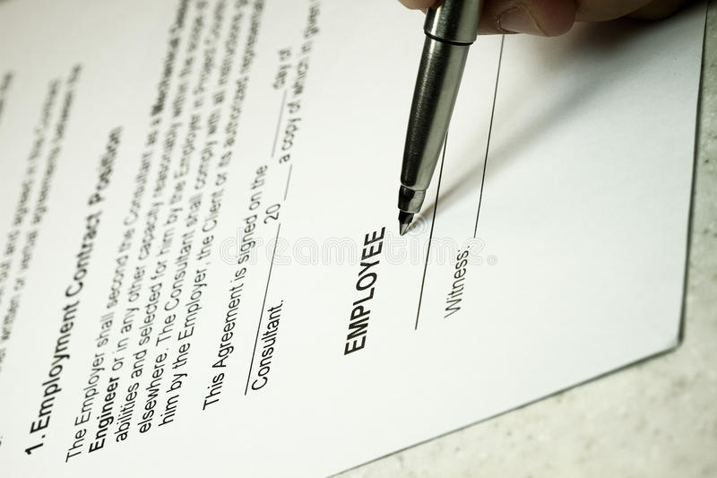 Anstellungsvertrag lizenzfreies stockbild