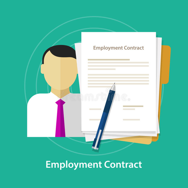Anstellungsvertrag-Papierdokumentenschreibtisch- und -handpersonalwesen stock abbildung