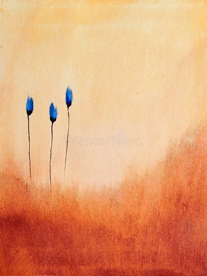 Anstrich der blauen Blumen stock abbildung
