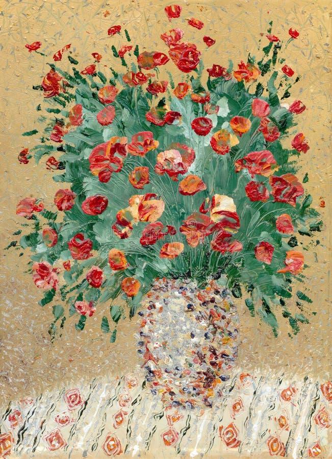 Anstrich durch Schmieröl. Eine ruhige Lebensdauer von den roten Blumen lizenzfreie stockfotos
