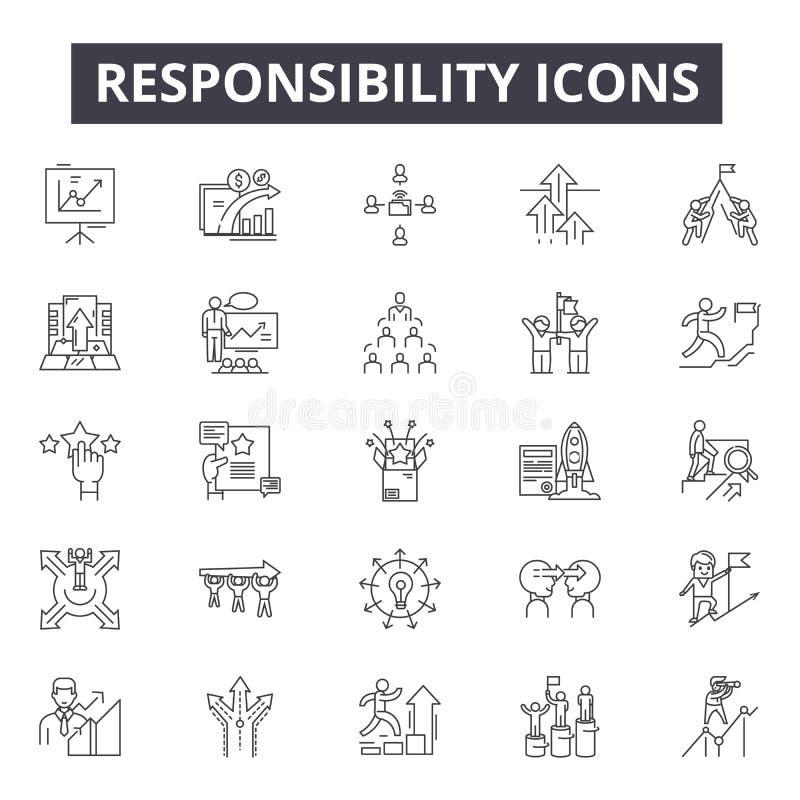 Ansvarlinje symboler, tecken, vektoruppsättning, översiktsbegrepp, linjär illustration royaltyfri illustrationer