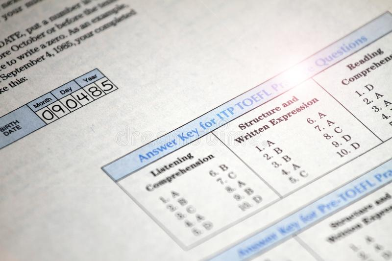 Answer key for test exam college, school and university education, USA stock photography