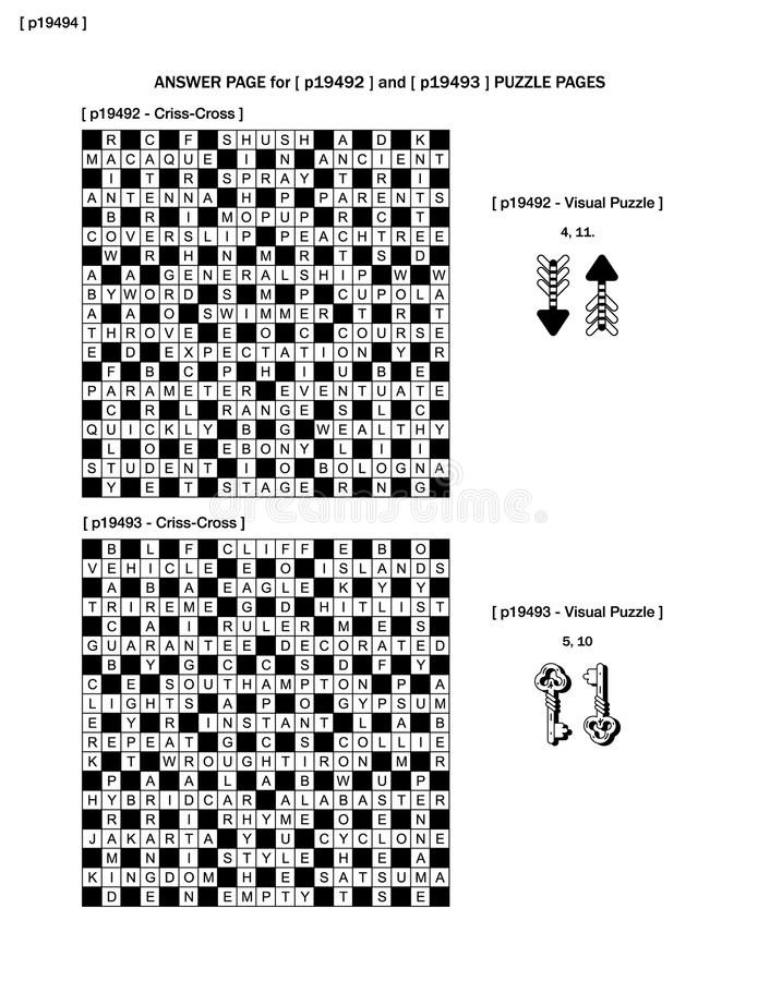 Answer page to previous two puzzle pages (p19492 and p19493). With criss-cross and visual puzzles stock illustration