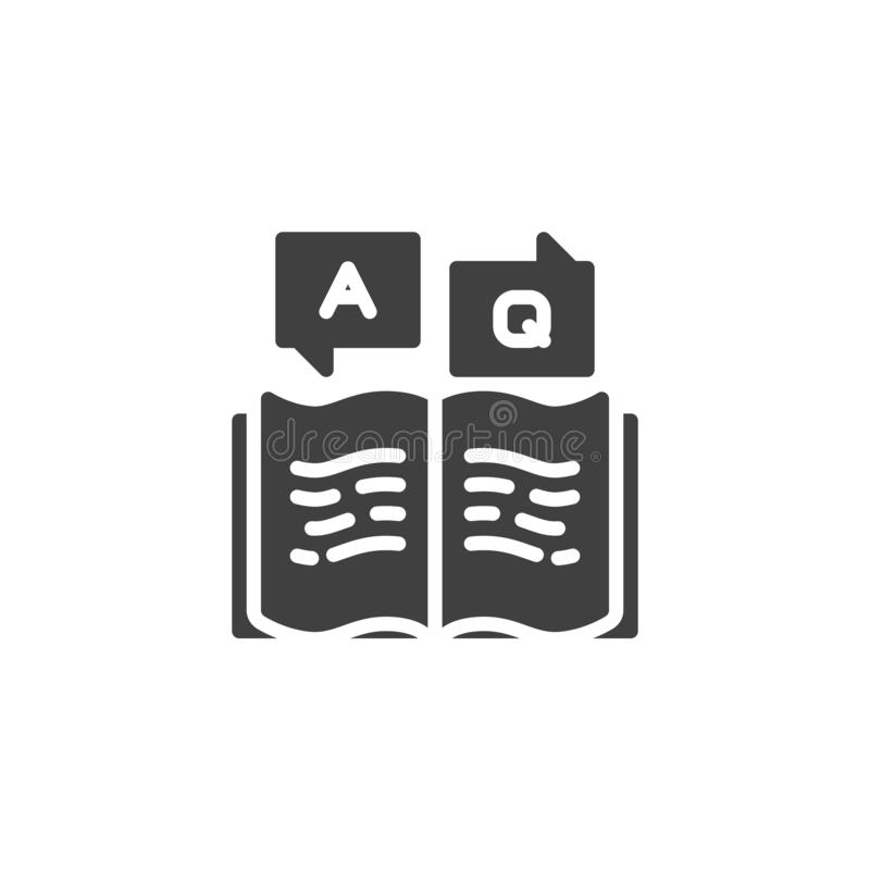 Answer and question book vector icon stock illustration