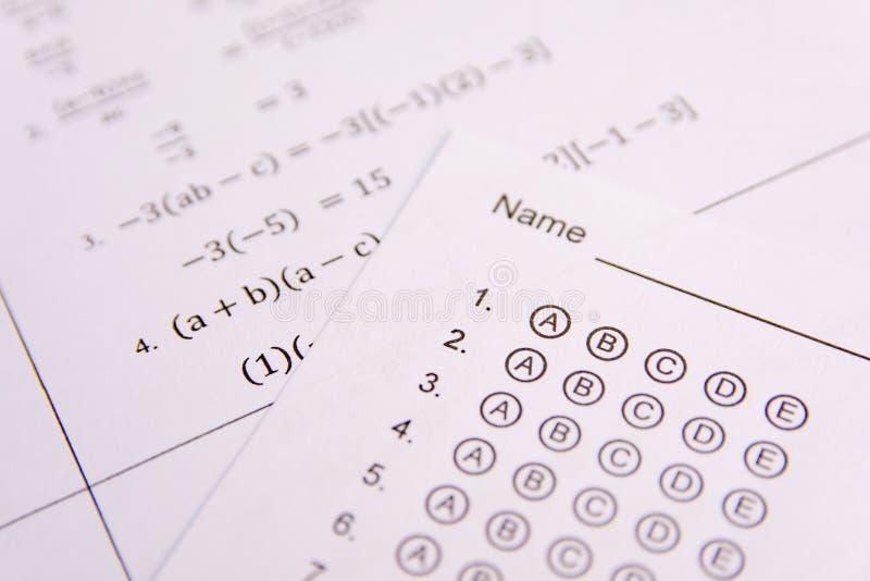 Answer Sheet, Test score sheet stock photo