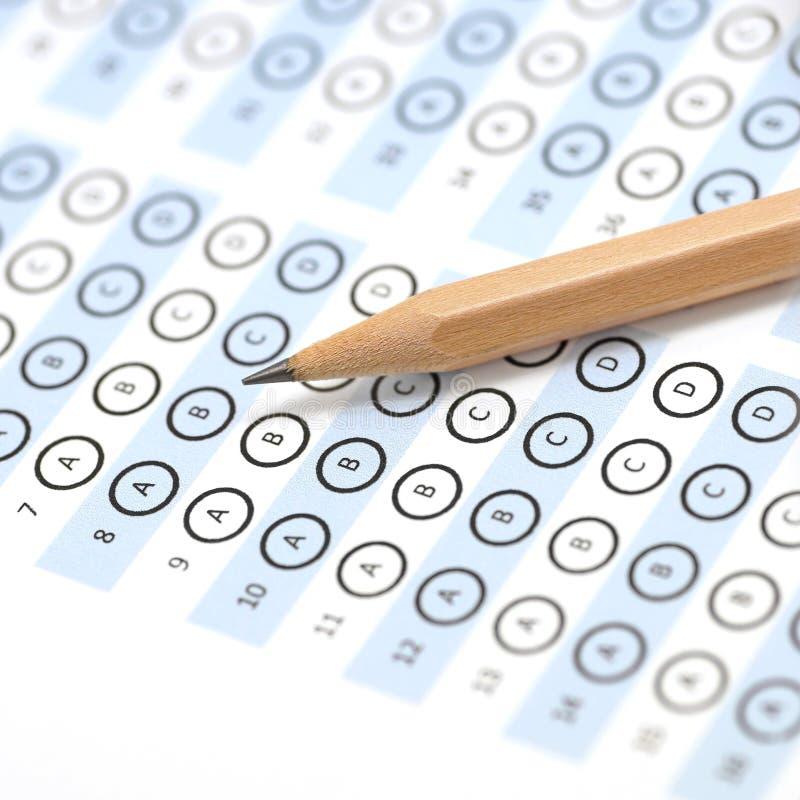 Answer sheet test score royalty free stock photos