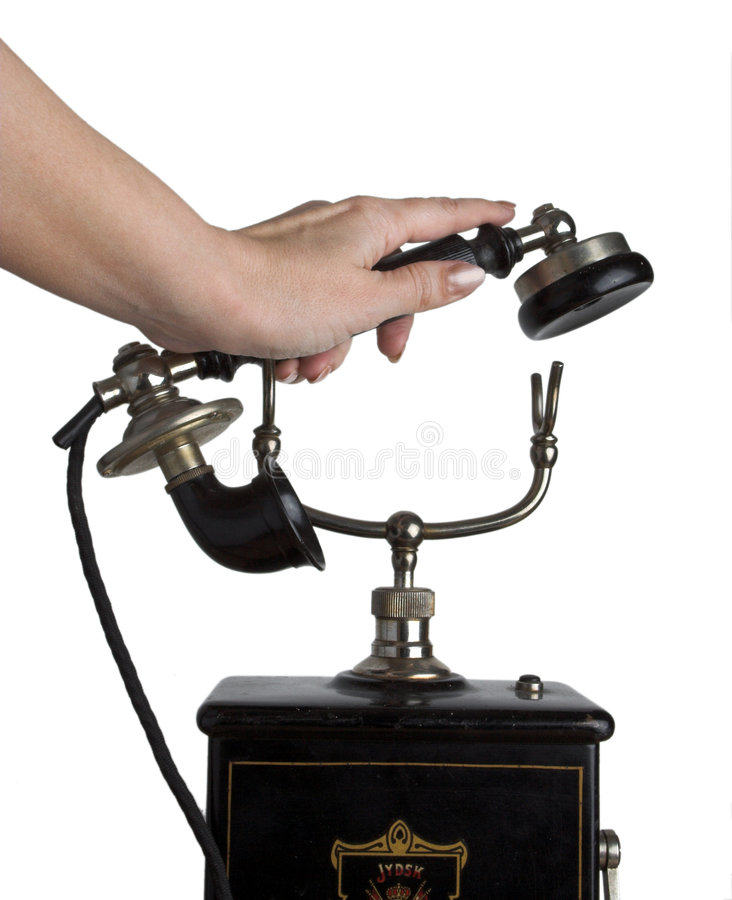Answering the phone royalty free stock images