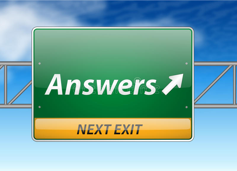 Download Answers Freeway Exit Sign Royalty Free Stock Photos - Image: 26585758