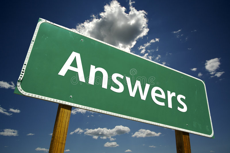 Answers - road-sign. stock image