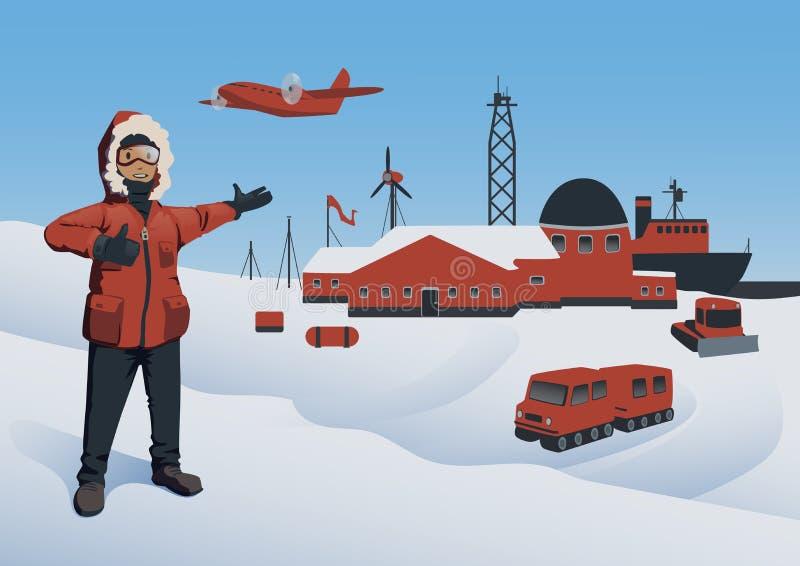 A Antártica e Polo Norte, ilustração do vetor Explorador polar na estação de pesquisa Produção de petróleo a pouca distância do m ilustração stock