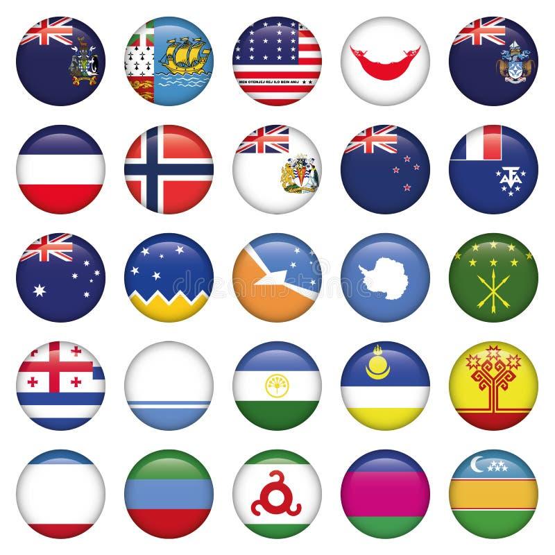 Antártico y ruso señala por medio de una bandera alrededor de los botones stock de ilustración