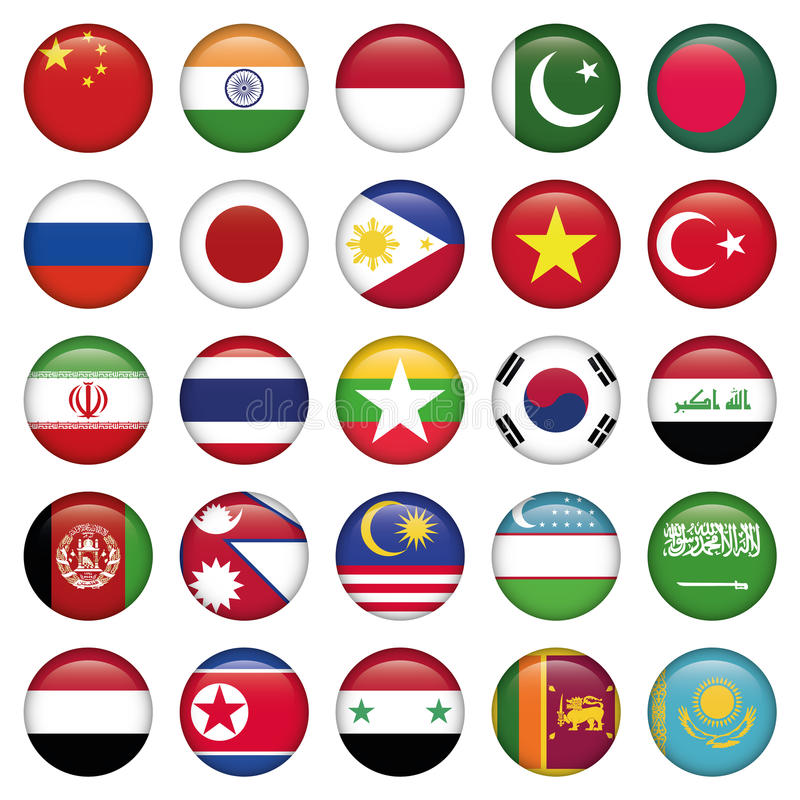 Antártico y ruso señala por medio de una bandera alrededor de los botones imagen de archivo libre de regalías