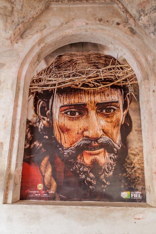 ANTÍGUA, GUATEMALA - 27 DE MARÇO DE 2016: Retrato de Jesus no convento do Mercedarians Convento de La Merced dentro imagem de stock