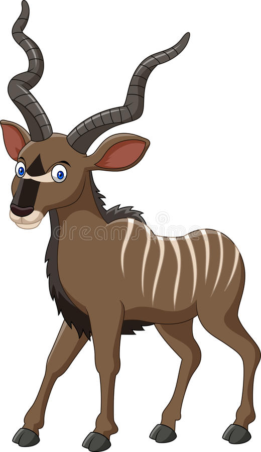 Antílope del kudu de la historieta ilustración del vector