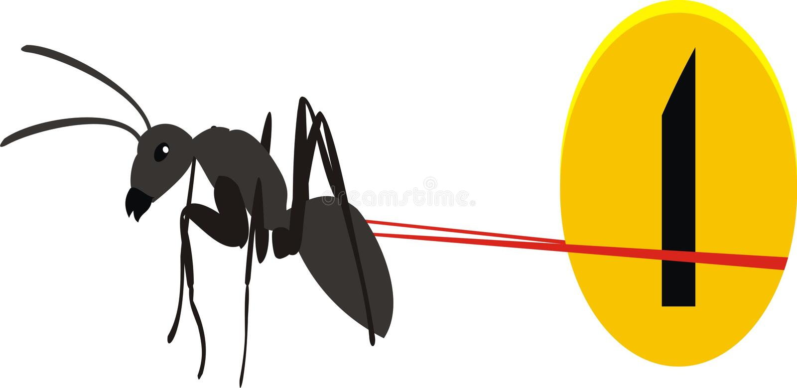 Ant and a coin. A hardworking ant royalty free illustration
