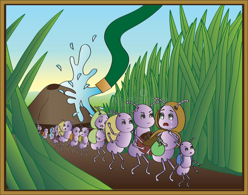 Ant Exodus. Carton ants leaving their hill as it gets hosed down vector illustration