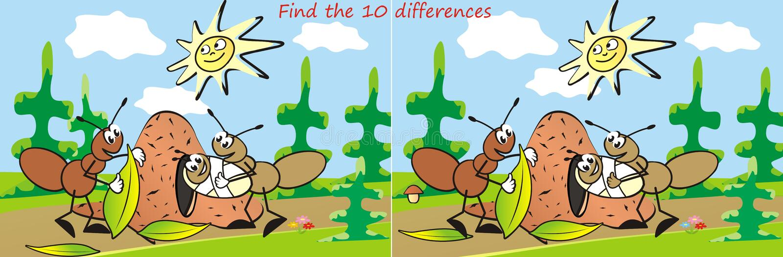 Ant, game, find ten differences vector illustration