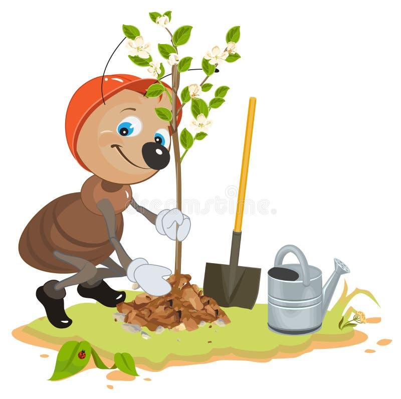Ant Gardener che pianta albero Albero da frutto della piantina Alberello di melo illustrazione di stock