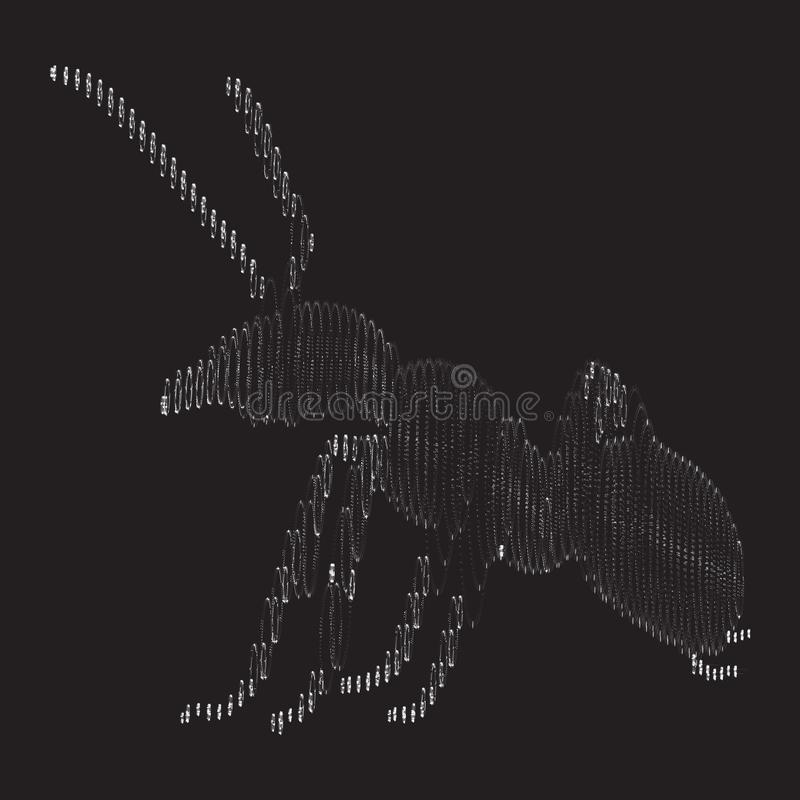 Ant of the particles. The ant consists of small circles royalty free illustration