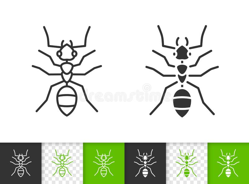 Ant simple animal black line insecvektor icon stock abbildung