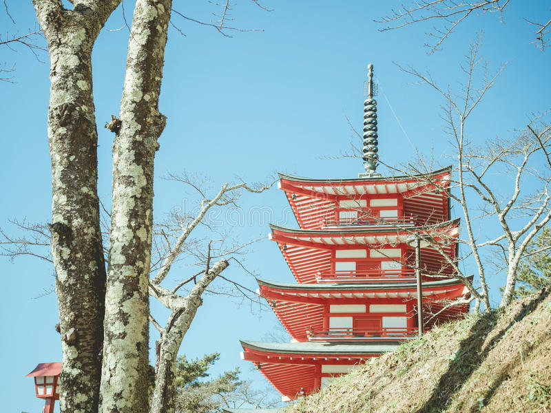 Ant view from red pagoda chureito with soft focus foreground o royalty free stock images