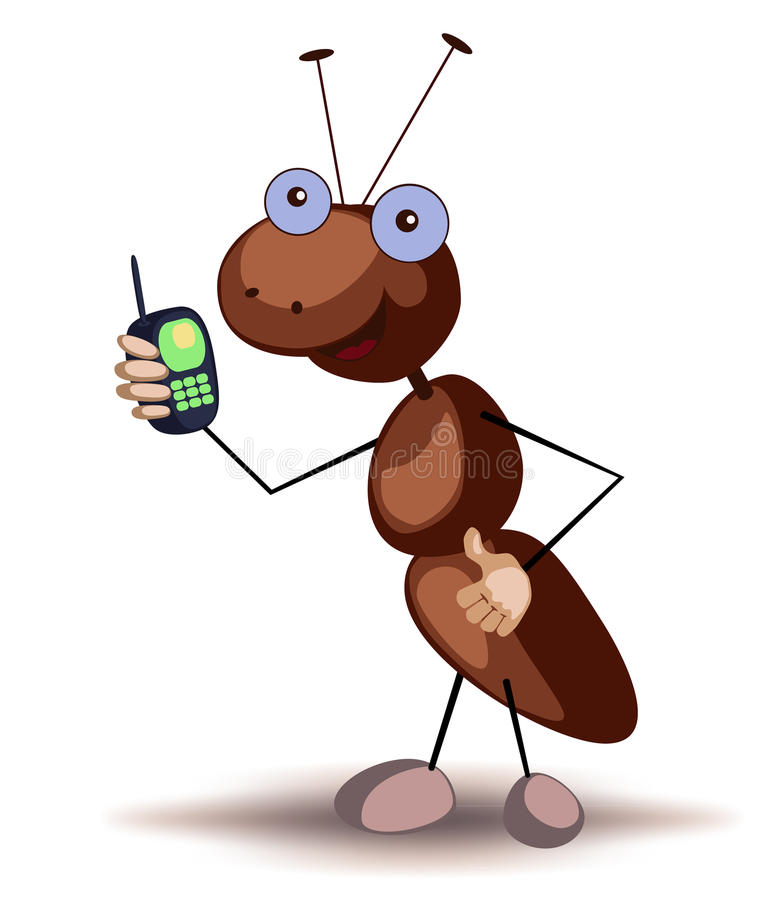 Ant wiht cell phone royalty free stock images