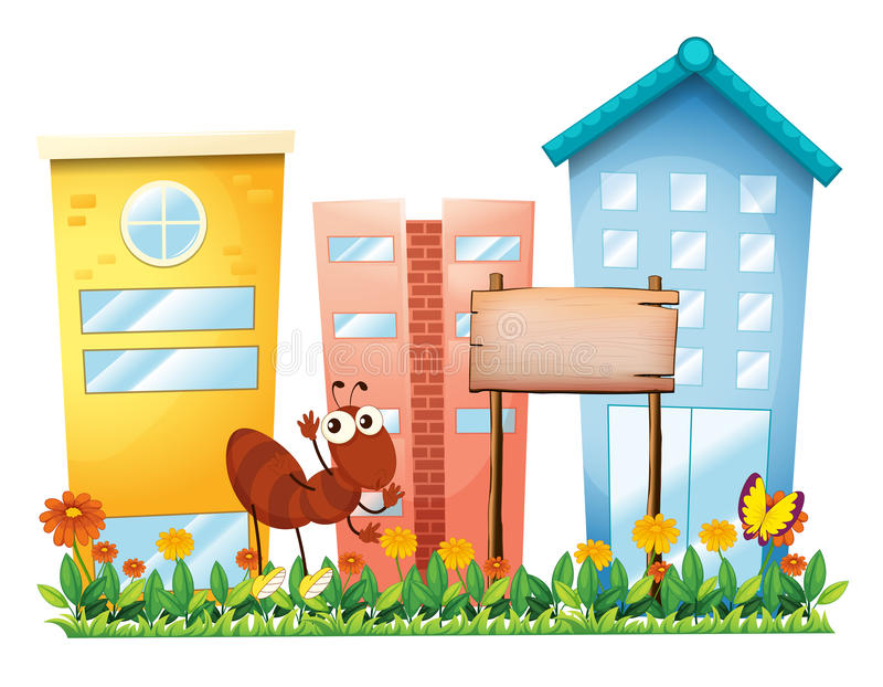 Download An Ant Beside A Wooden Signboard In Front Of The Buildings Stock Vector - Image: 32709013