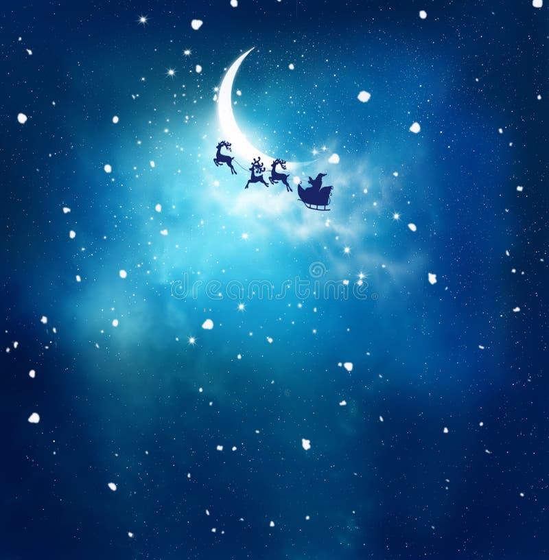 Anta и его сани летая над снежным ландшафтом иллюстрация штока