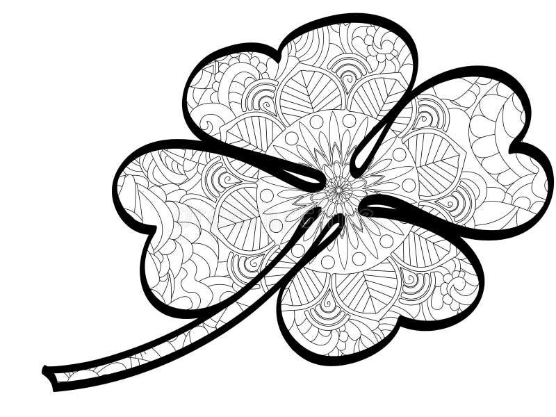 Anta stres kolorystyki książki koniczyna Roślina, liść, wektor Czerni linie, biały tło Świętego Patric dzień ilustracja wektor