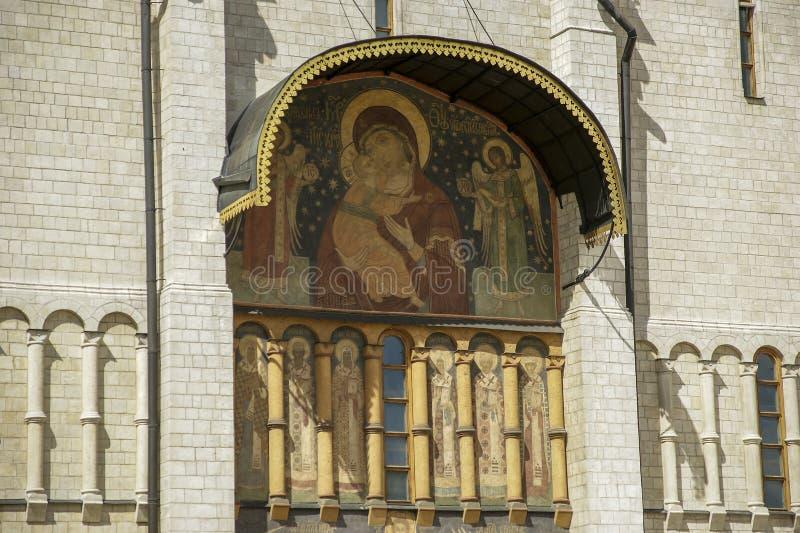Antagandedomkyrka (var platsen av coronation av ryska tsars), Moscow fotografering för bildbyråer