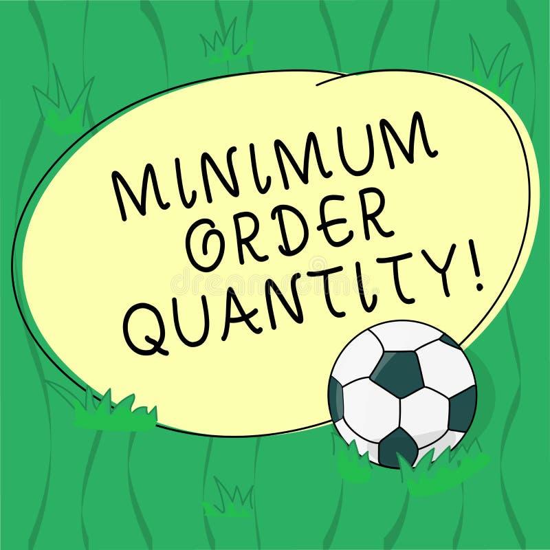 Antal för beställning för minimum för ordhandstiltext Affärsidéen för det lägsta antalet av en produkt en leverantör kan sälja fo royaltyfri illustrationer