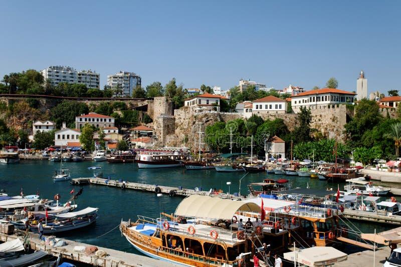 Antalya harbor or marina. Scenic view of boats moored in old marina or harbor, Antalya city, Turkey royalty free stock photos