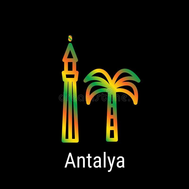 Antalya, Indycza wektor linii ikona royalty ilustracja