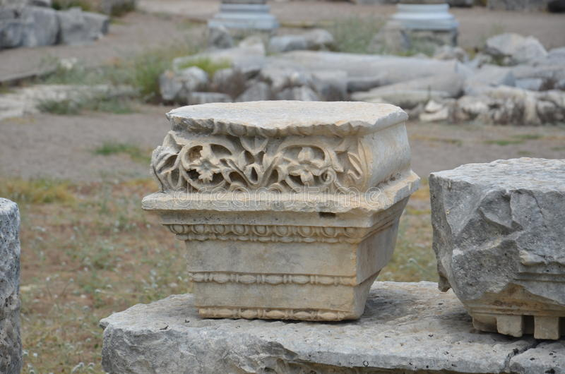 Antalya Perge ancient city, the agora, the ancient Roman Empire, embroidered column base stock images