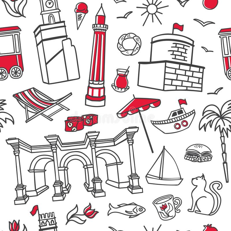 Antalya symbols. Hand drawn vector seamless pattern with black outline doodles and red elements on white background. royalty free illustration