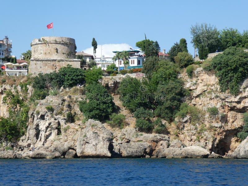 Antalya-Truthahn Stadt des historischen Schlosshafens alter lizenzfreies stockfoto